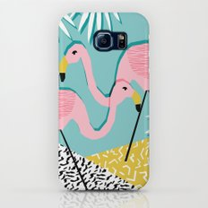 Bro - wacka design memphis throwback minimal retro hipster 1980s 80s neon pop art flamingo lawn Slim Case Galaxy S7