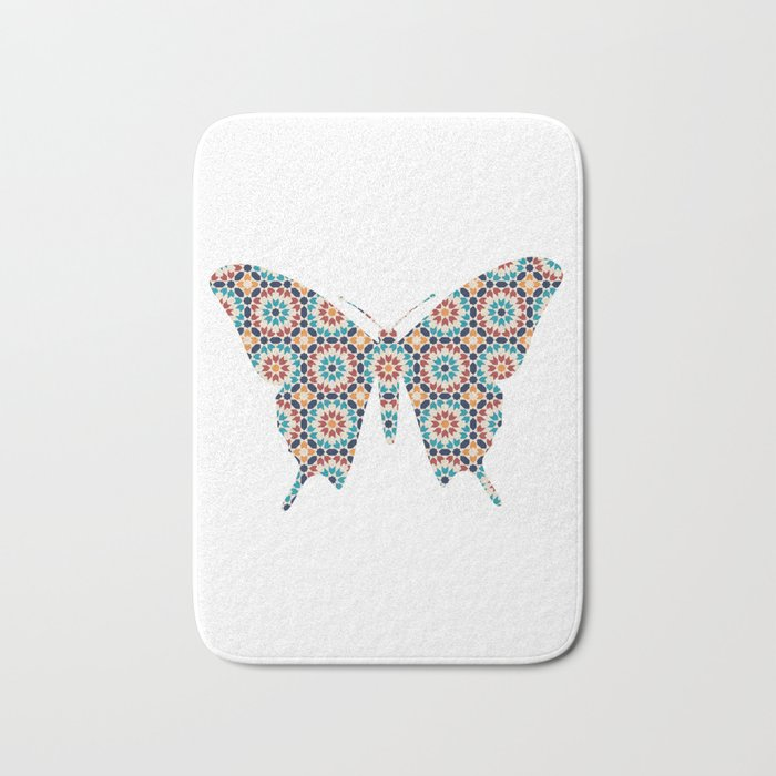 BUTTERFLY SILHOUETTE WITH PATTERN Bath Mat