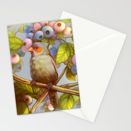 Orange cheeked waxbill finch with blueberries Stationery Cards