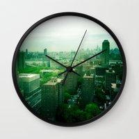 brooklyn Wall Clocks featuring Brooklyn by Claire Beaufort