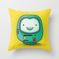 bmo Throw Pillows featuring Daruma: BMO by Monstruonauta
