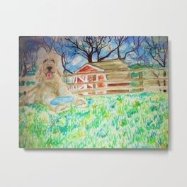 Goldendoodle Cuteness Watercolor Painting Metal Print