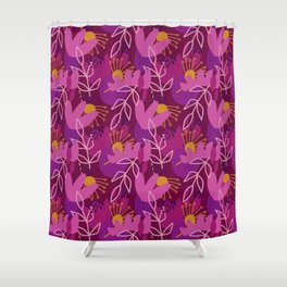 Abstract Florals in Purple Shower Curtain