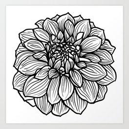 Dahlia in black and white Art Print