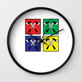 Retro Pop Art Axe Graphic Lumberjack Woodworker Wall Clock