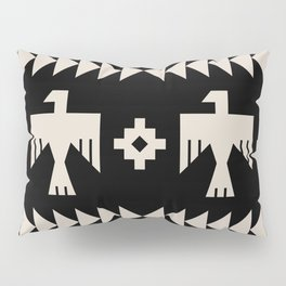 Southwestern Eagle and Arrow Pattern 121 Black and Linen White Pillow Sham