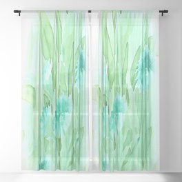Soft Watercolor Floral Sheer Curtain