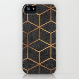 Charcoal and Gold - Geometric Textured Cube Design I iPhone Case