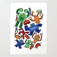 robots Art Prints featuring Robots by Sara Goetter