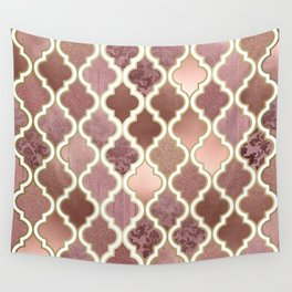 Rosegold Pink and Copper Moroccan Tile Pattern Wall Tapestry