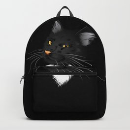 Black cat with yellow eyes in the dark Backpack
