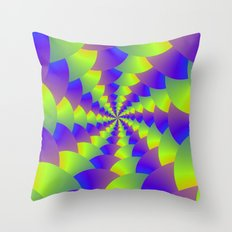 Yellow and Purple Spiral Throw Pillow