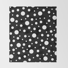 White on Black Polka Dot Pattern Throw Blanket