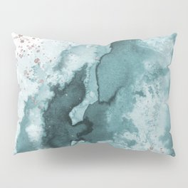 Watercolor meets Glitter - Turquoise Rose Gold - No 2 Pillow Sham