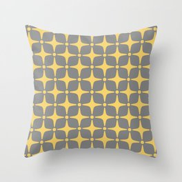 Mid Century Modern Star Pattern Yellow and Gray 2 Throw Pillow