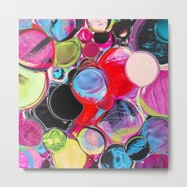 Digitally manipulated multicolored liquified mixed media abstract painting Metal Print