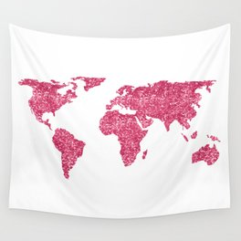 World Map Hot Pink Glitter Sparkles Wall Tapestry