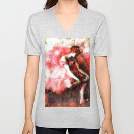 The Dancer by Edgar Degas Coral Red Unisex V-Neck