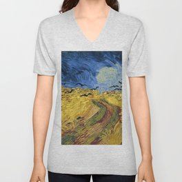 Wheatfield with Crows by Vincent van Gogh Unisex V-Neck