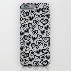 MESSY HEARTS: BLACK GRAY Slim Case iPhone 6s