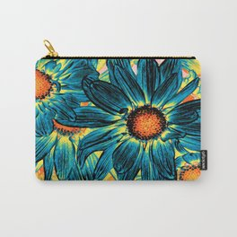 Pop Art Daisies Teal Orange Yellow Carry-All Pouch