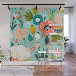 Mid-Century Modern Floral Print With Trendy Leaves Wall Mural