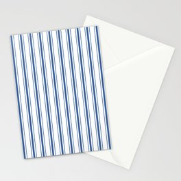 Mattress Ticking Wide Striped Pattern in Dark Blue and White Stationery Cards