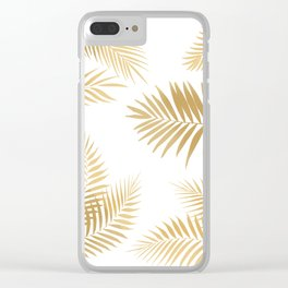 Golden Palm Leaves Clear iPhone Case