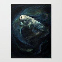 Polar Bear Swimming in Northern Lights Canvas Print
