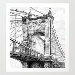 Roebling Bridge, Rolling Clouds Art Print