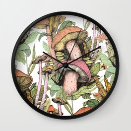 wild mushrooms Wall Clock