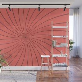 3D Pantone Living Coral Thin Striped Spiral Pinwheel Wall Mural
