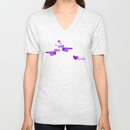 Love Birds-Purple Unisex V-Neck
