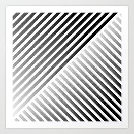 Stripes In Black & White 2 Art Print