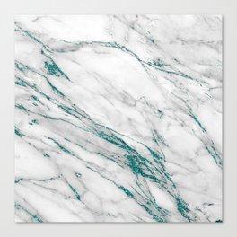 Gray Marble Aqua Teal Metallic Glitter Foil Style Canvas Print