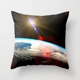 Earth outer space lens flare Throw Pillow