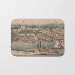 Vintage Pictorial Map of The 6th Street Wharf - Washington DC Bath Mat