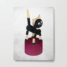 PUSH UP CAT, toy illustration Metal Print
