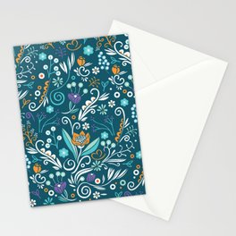 Flower circle pattern, blue Stationery Cards