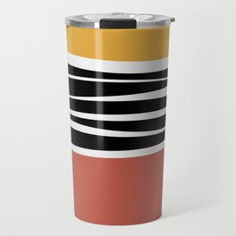 Irregular Shapes & Stripes / Yellow & Red Travel Mug
