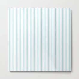 Pale Sky Blue and White Striped Mattress Ticking Metal Print