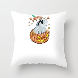 Ghost Pumpkin, It's Show Time Funny Halloween Horror Scary Throw Pillow