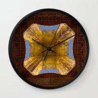 eiffel tower Wall Clocks featuring Eiffel Tower by Jazzmin