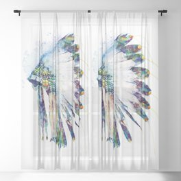 Colorful Indian Headdress Sheer Curtain