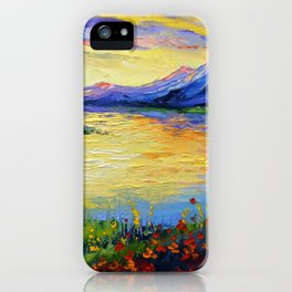 Flowers on the shore of the lake iPhone Case