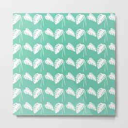 White Monstera Leaf Watercolor on Teal Metal Print