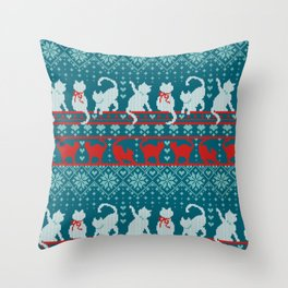 Festive Fair Isle Knitting Cats Love // teal white and red kitties Throw Pillow