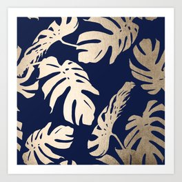 Simply Palm Leaves in White Gold Sands on Nautical Navy Art Print
