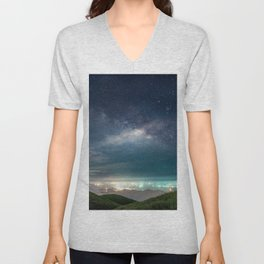Milky Way over Hong Kong Lights Unisex V-Neck