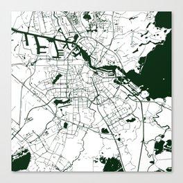 Amsterdam White on Green Street Map Canvas Print
